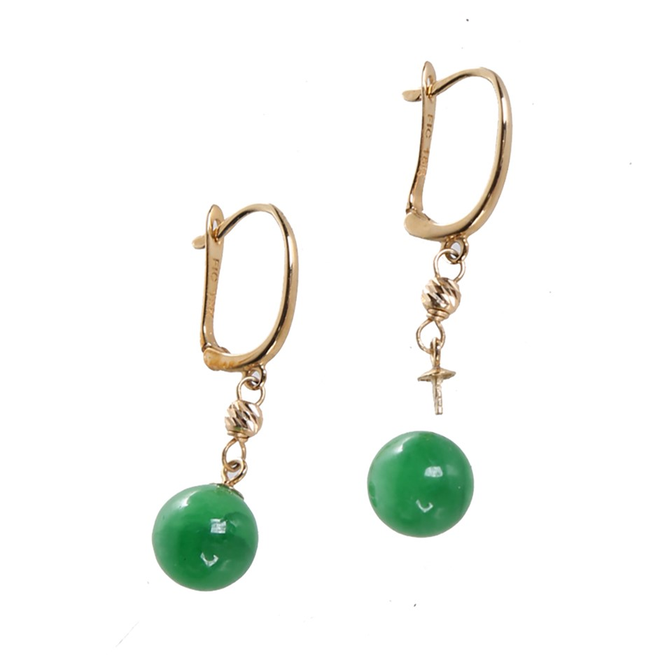 18kt Yellow Gold and 8mm Jade Drop Earring with Lever Backs. N.B. One earri