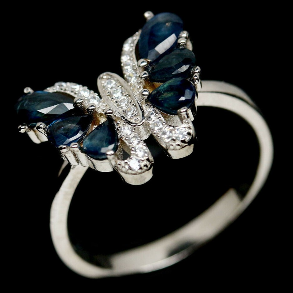 Genuine Sapphire Butterfly Ring