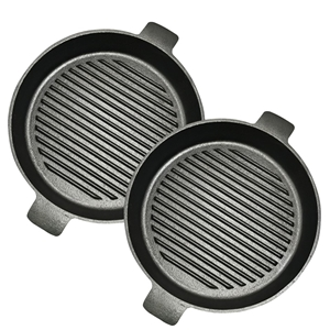 SOGA 2X 25cm Round Ribbed Cast Iron Fryi