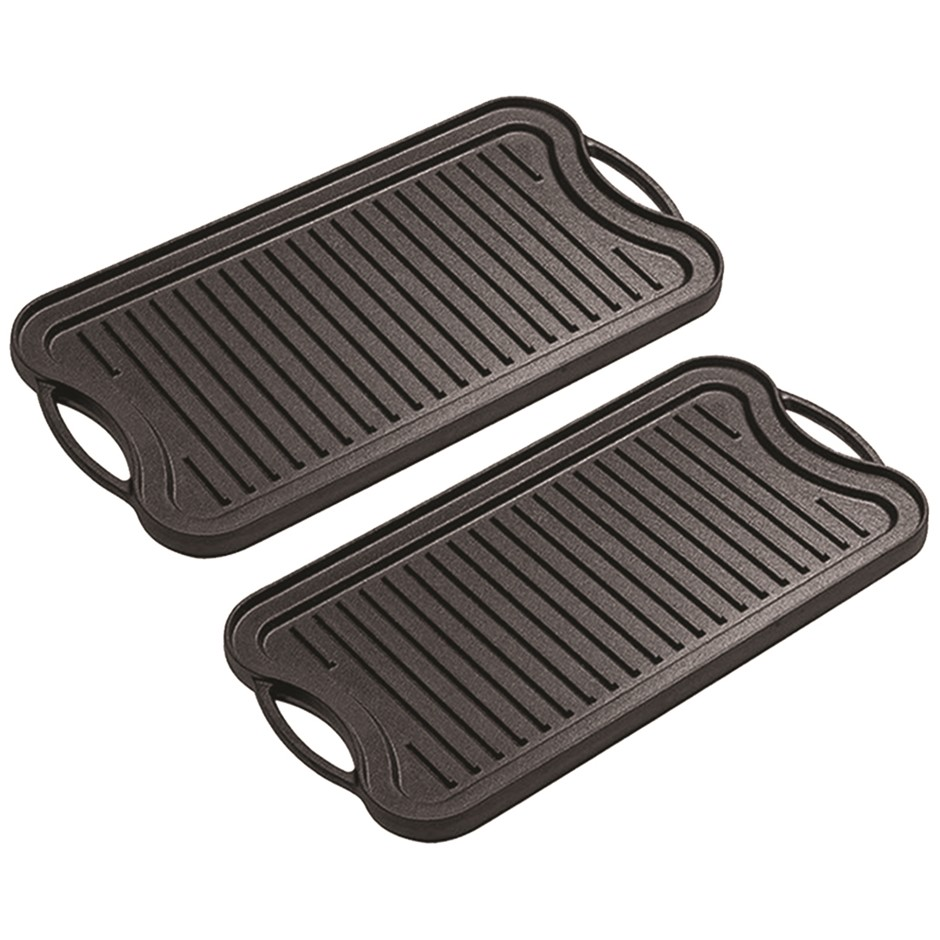 SOGA 2X 50.8cm Cast Iron Nonstick Ridged Griddle Hot Plate Grill Pan BBQ