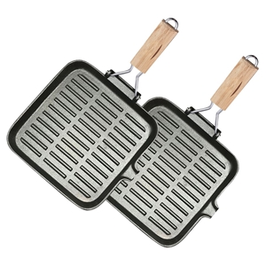 SOGA 2X 22cm Ribbed Cast Iron Square Fry