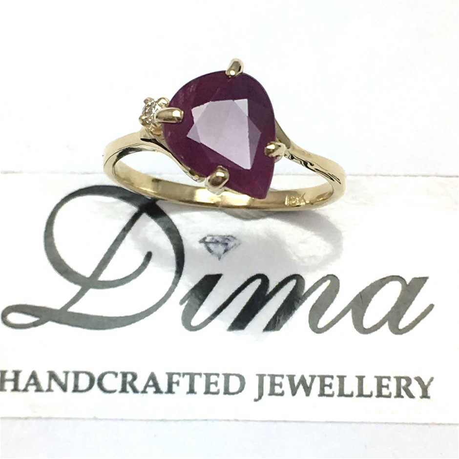 18ct Yellow Gold, 2.28ct Ruby and Diamond Ring