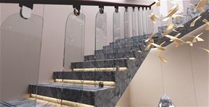 Frameless Glass Stairs Balustrade Toughe