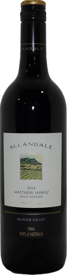 Allandale Matthew Single Vineyard Shiraz 2014 (6x 750mL), NSW. Screwcap.
