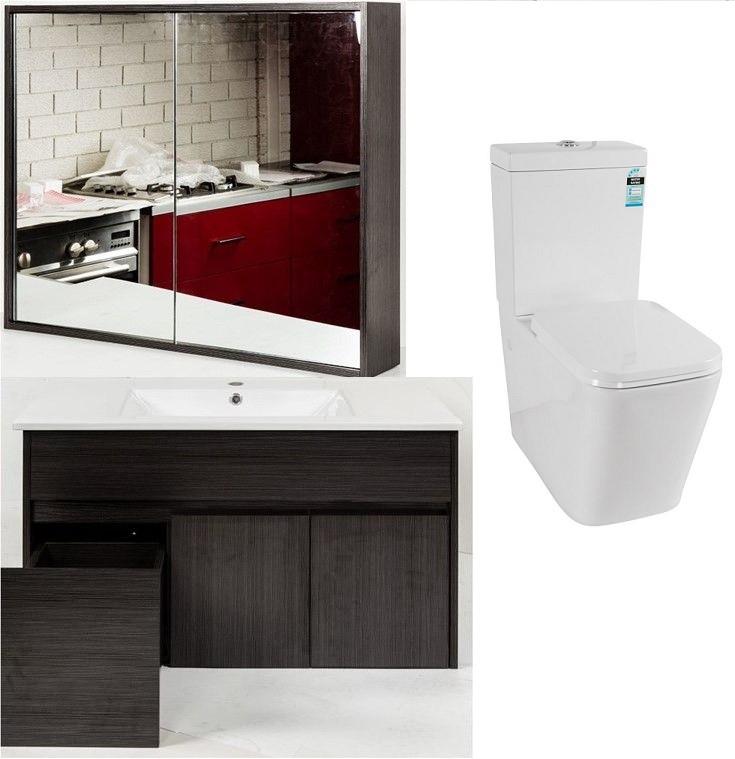 Premium Bathroom Package (900mm Mirror Cabinet/Vanity, Toilet Suite)