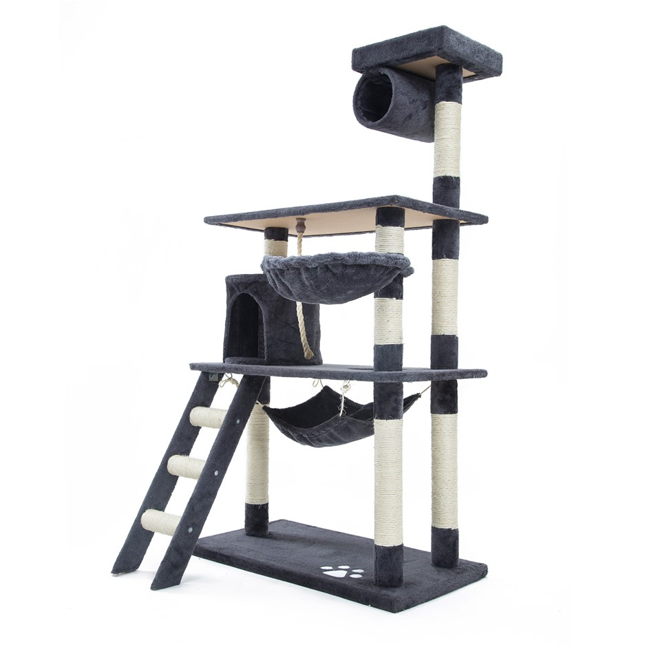 140cm Cat Tree Scratcher MAPLE - GREY