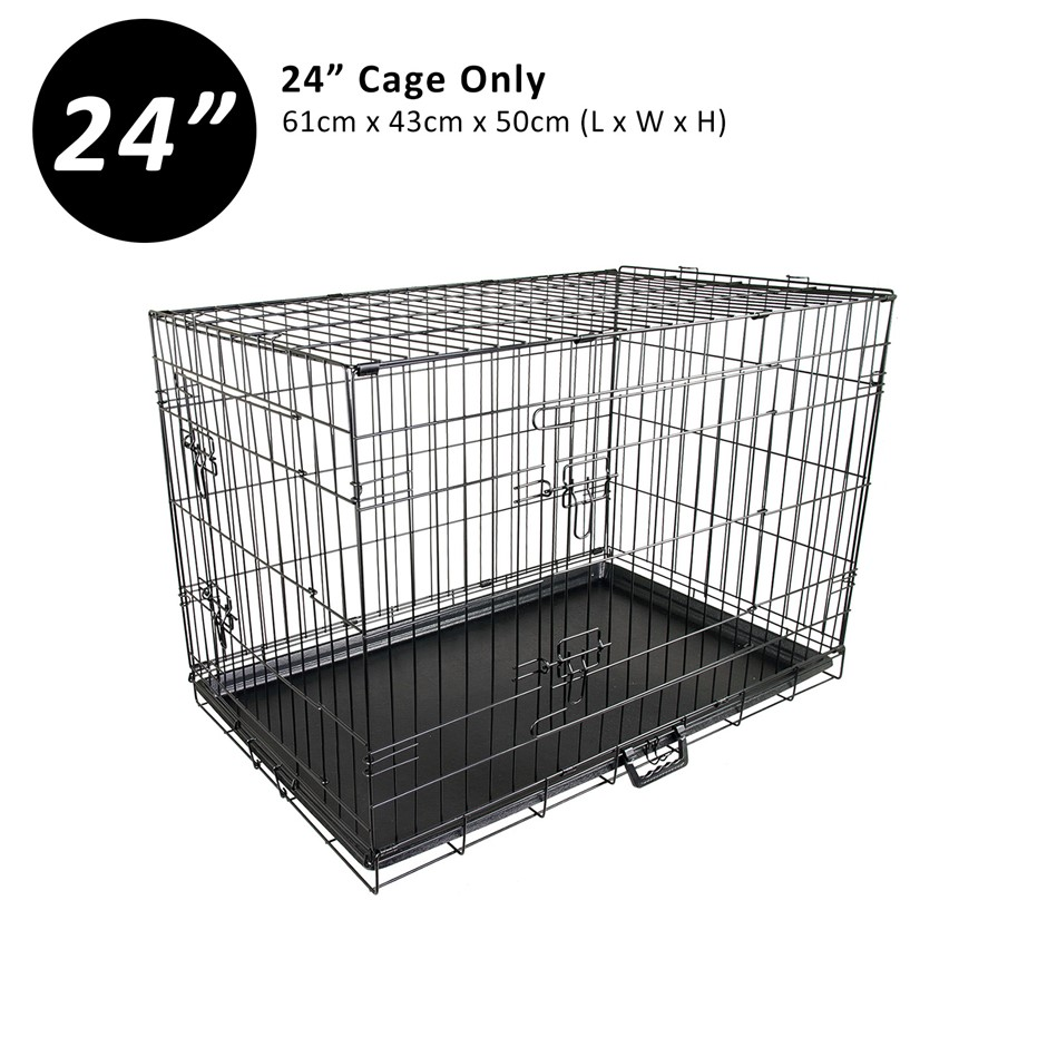 "24"" Foldable Wire Dog Cage with Tray"