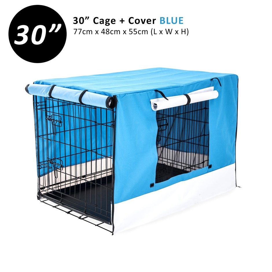 "30"" Foldable Wire Dog Cage with Tray + BLUE Cover"
