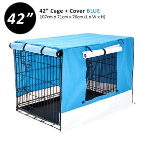 """42"""" Foldable Wire Dog Cage with Tray + B"""