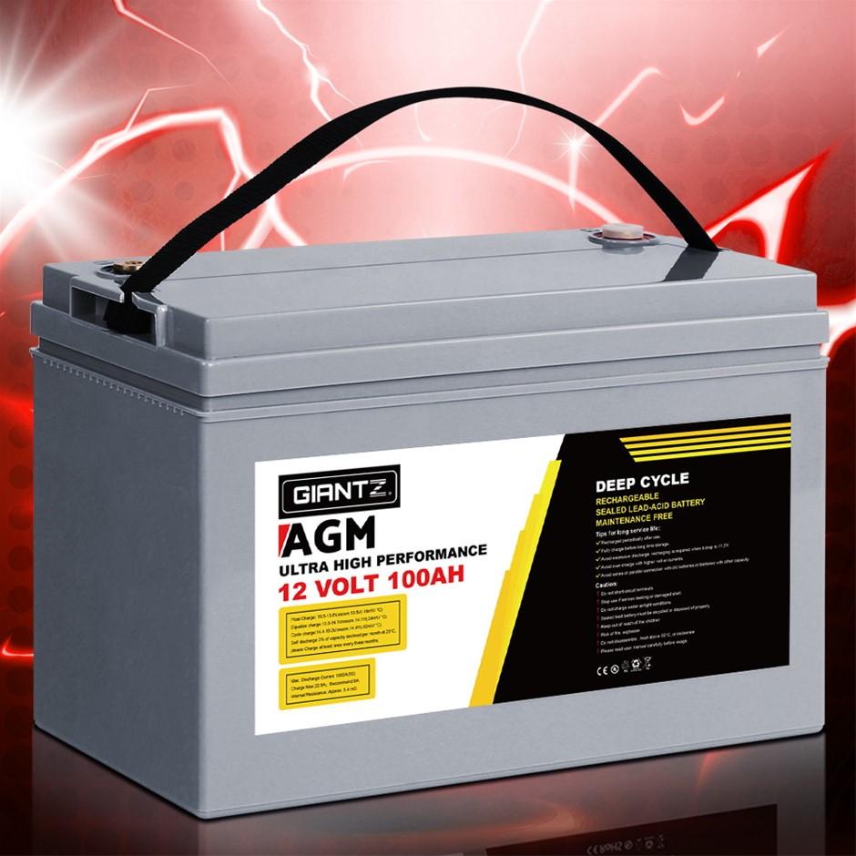 Giantz AGM Deep Cycle Battery 12V 120Ah Marine Sealed Power Portable Box