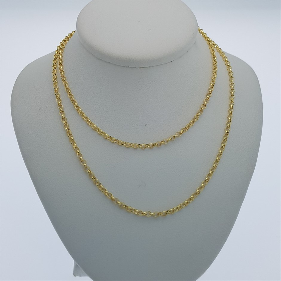 Genuine Italian 9 Karat yellow Gold 45 cm Belcher chain necklace