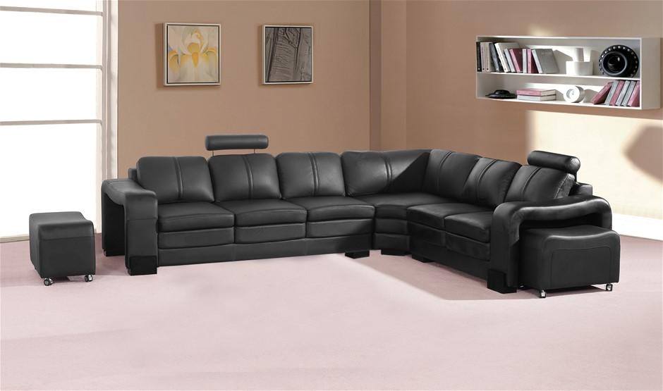 Modern Corner Sofa in Premium Bonded Leather with High density Foam