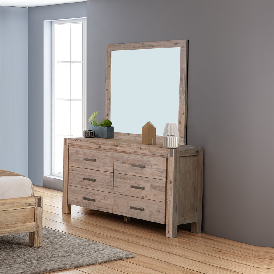 Java dresser constructed with Solid and Veneered Acacia panels