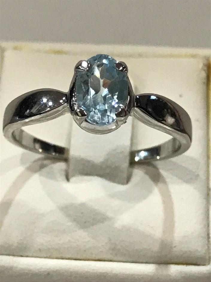 Stunning Genuine 1.10ct Blue Topaz & 18K W/Gold Vermeil Ring
