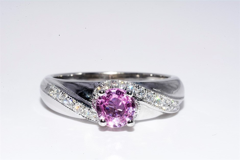 14ct White Gold, 0.98ct Pink Sapphire and Diamond Ring