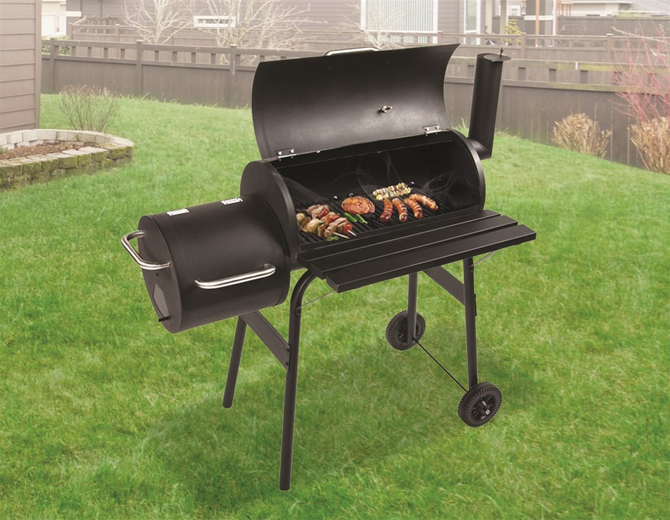 BBQ Smoker Charcoal Grill Roaster Portable Outdoor Camping Barbecue 2in1