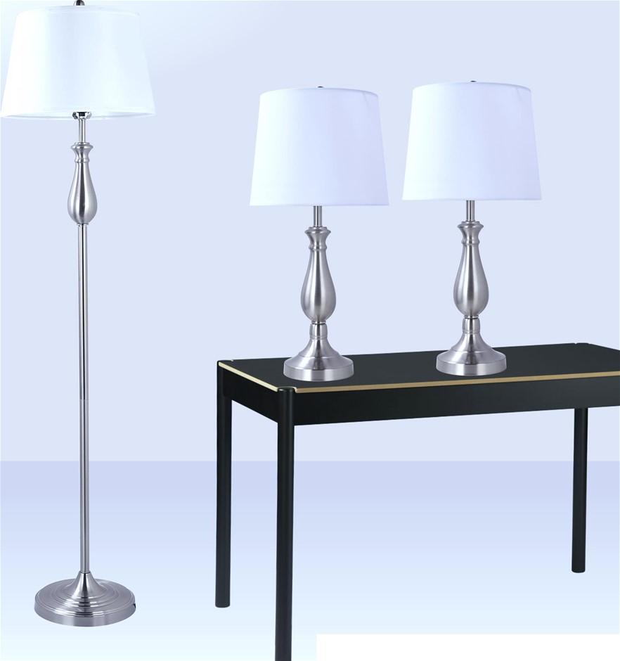 3-Piece Lamp Set Modern Home Living Room Bedroom Nickel Finish
