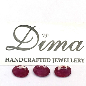Three Stones Ruby Oval, 1.88ct in Total