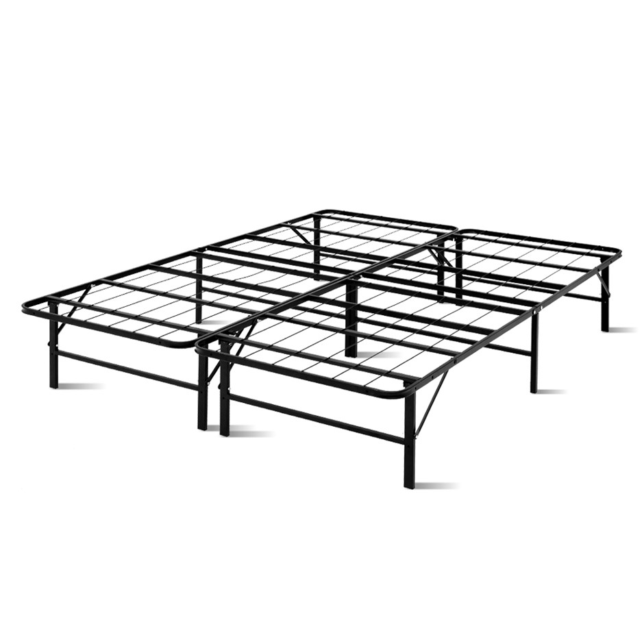 Artiss Foldable Queen Metal Bed Frame - Black