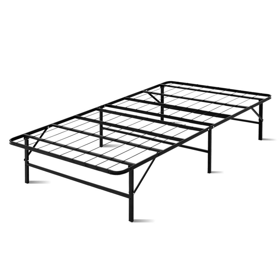 Artiss Foldable King Single Metal Bed Frame - Black