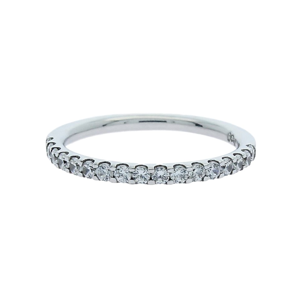 0.33 Carat Sterling Silver claw set matching band