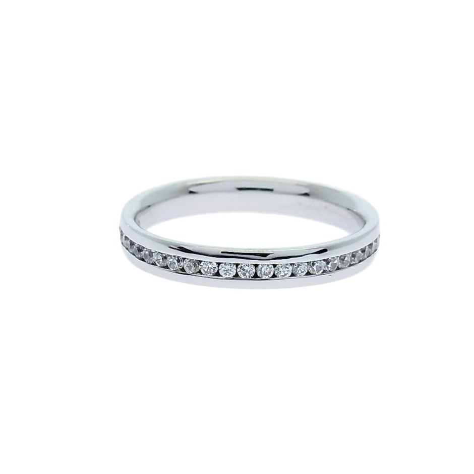 0.50 Carat full circle Sterling Silver Channel set band