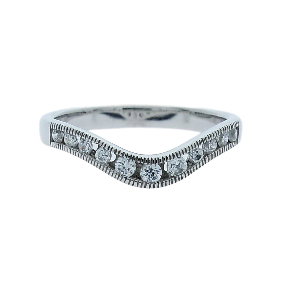 0.25 Carat Sterling Silver matching curved millgrain band