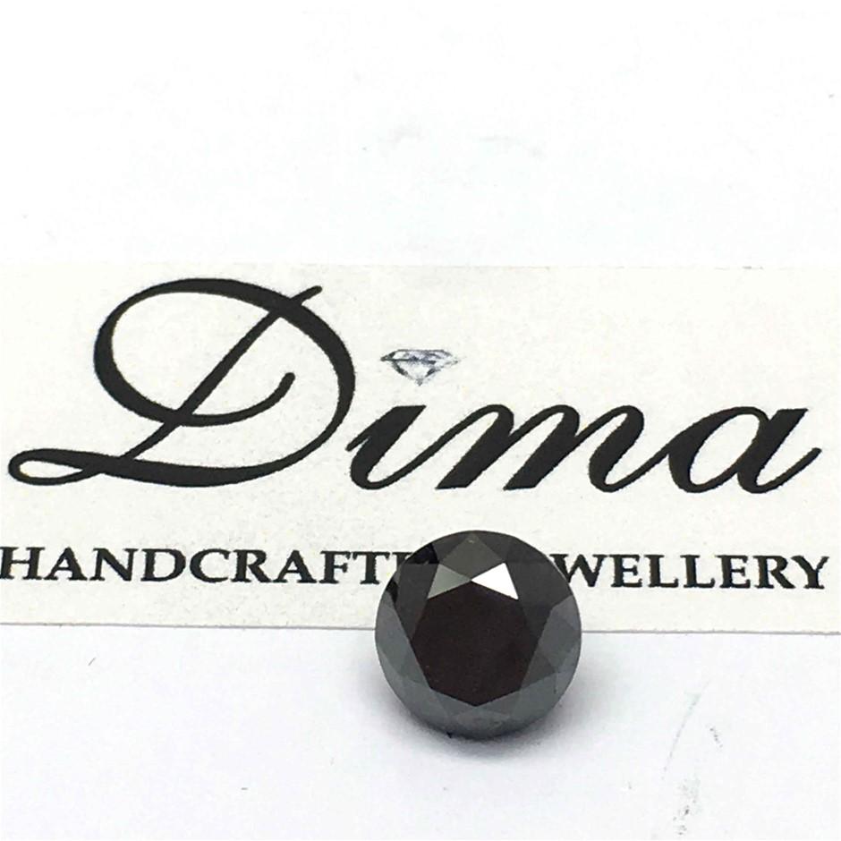 One Stone Black Diamond Round, 0.76ct in Total