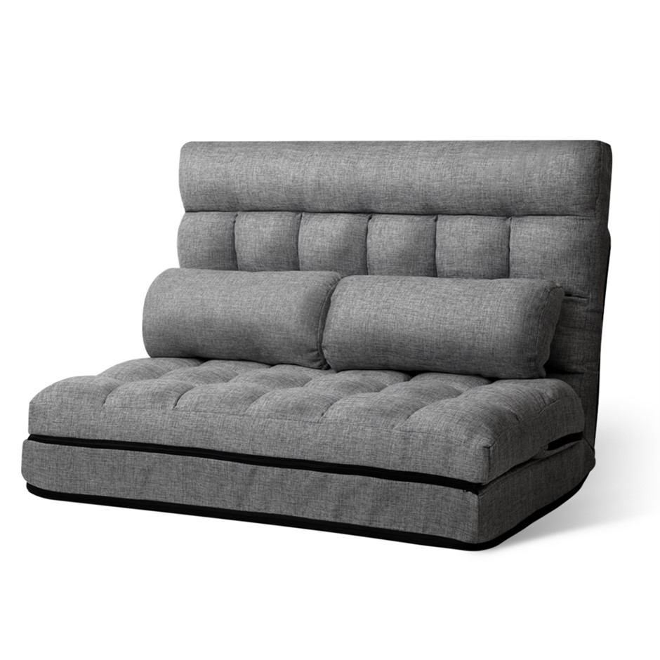 Artiss Lounge Sofa Bed DOUBLE Floor Recliner Chaise Chair Fabric Grey