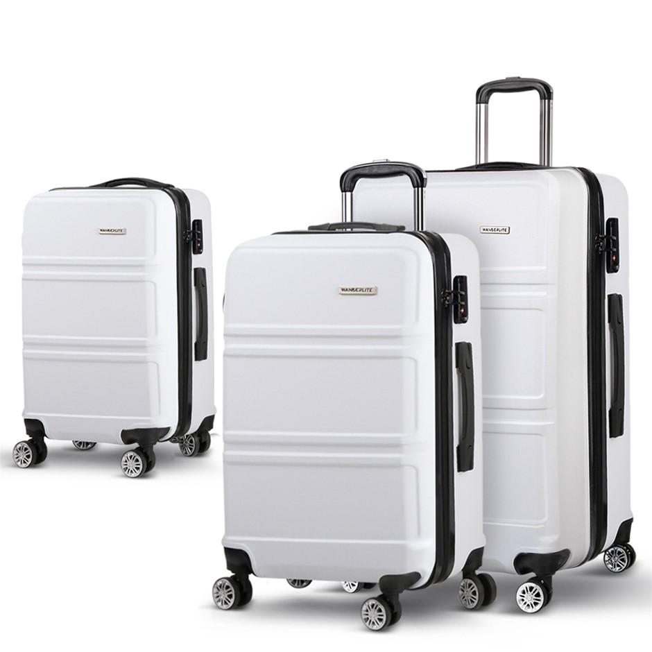 Wanderlite 3 Piece Lightweight Luggage Set - White