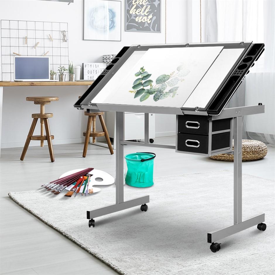 Artiss Drawing Desk Drafting Table Adjustable Glass Art Tilt Drawers Grey