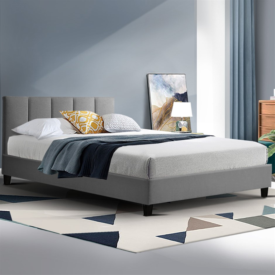 ANNA Bed Frame King Single Size Mattress Base Platform Fabric Wooden Grey