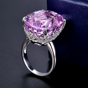 18ct White Gold, 28.37ct Pink Kunzite an