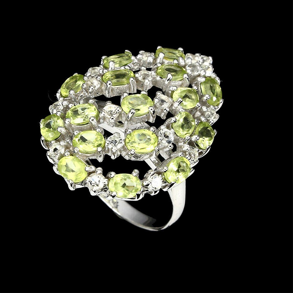 Ladies Sterling Silver Peridot & White Topaz Ring