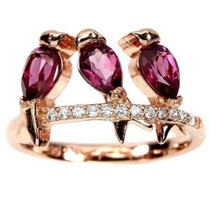 Beautiful Genuine Garnet Birdie Ring.