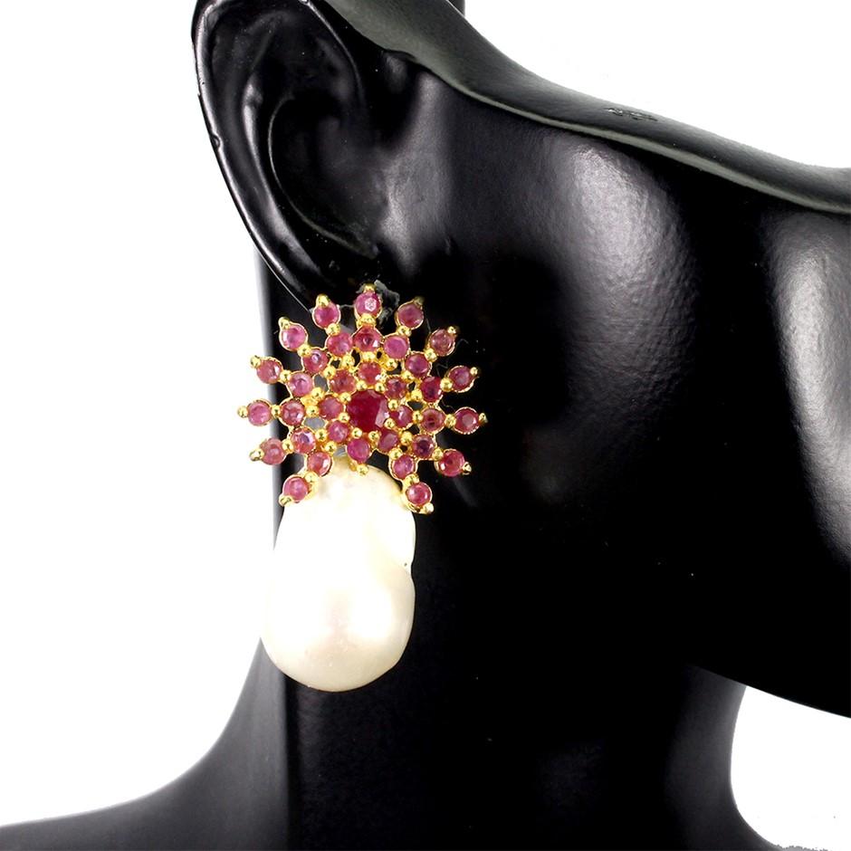 Striking Genuine Pearl & Ruby Earrings.