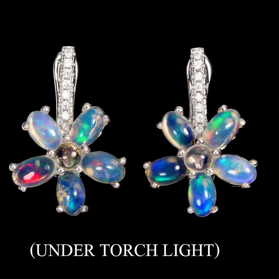 Stunning Genuine Fire Opal Earrings