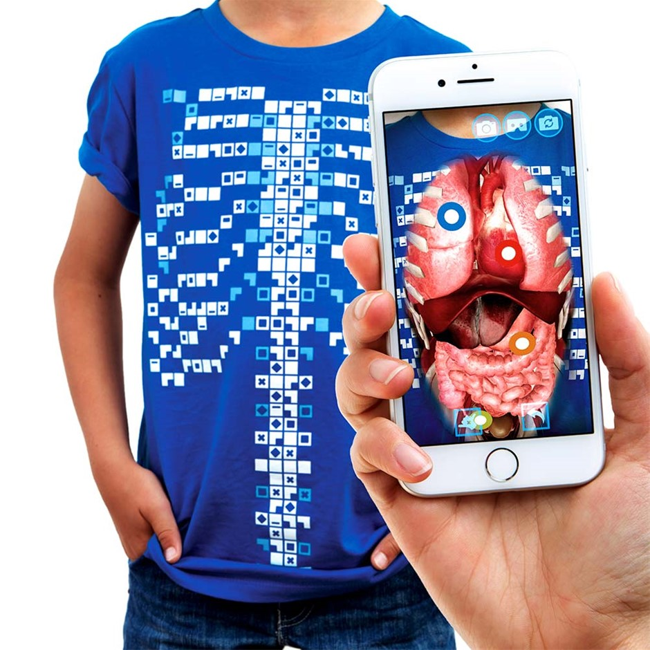 Curiscope Virtuali-Tee Augmented Reality T-Shirt for Anatomy - Medium