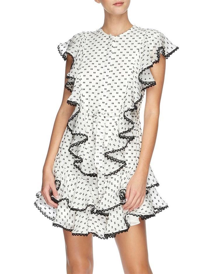 LOVER Polka Mini Dress. Size 8, Colour: White. Polyester. ORP: $699.00 Buye