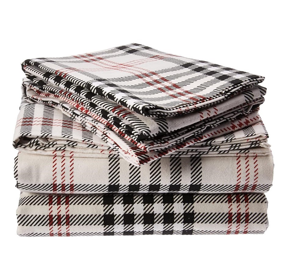 TRIBECA LIVING King Size Flannel Sheet Set, 100% Heavy Weight Cotton, Deep
