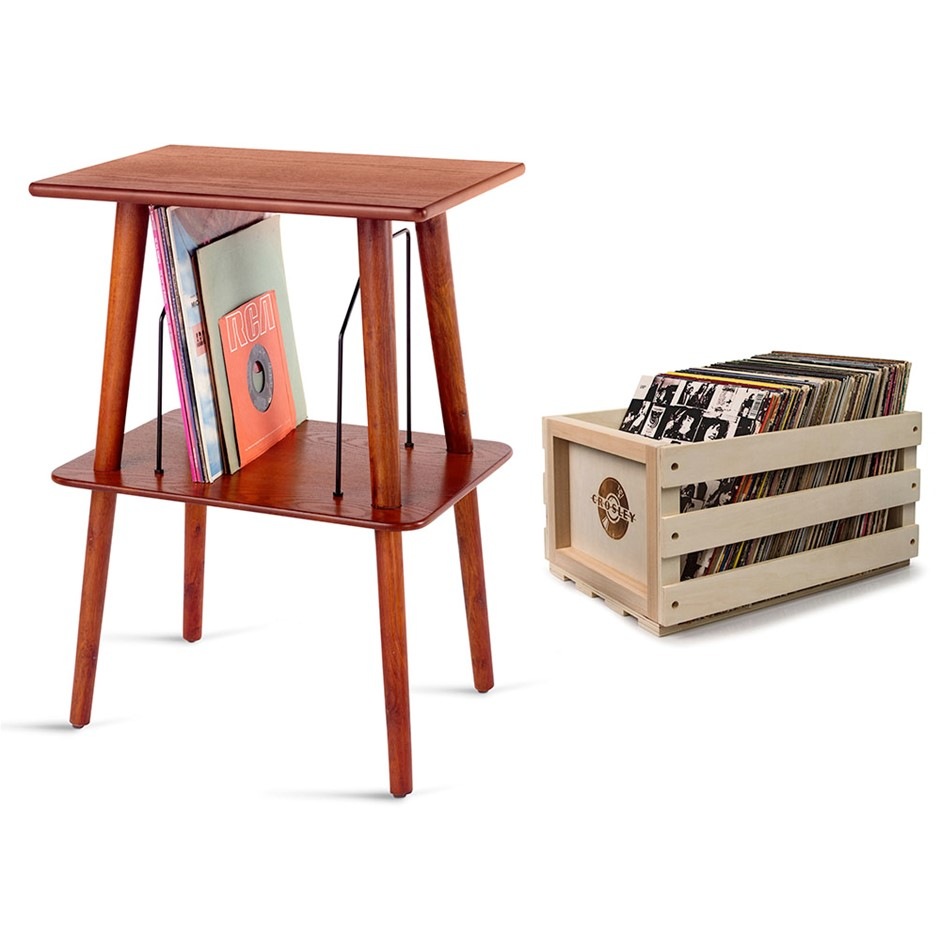 Crosley Record Storage Crate & Manchester Entertainment Center Stand Bundle