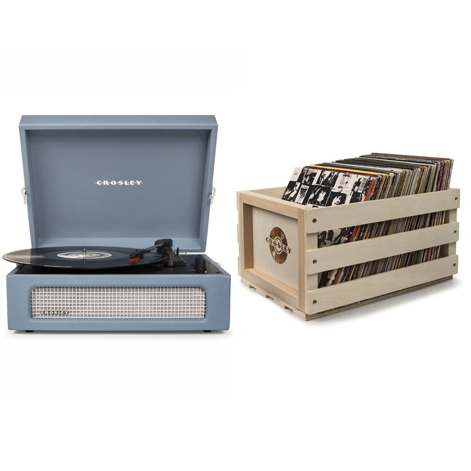 Crosley Voyager Portable Turntable- Washed Blue + Free Record Storage Crate