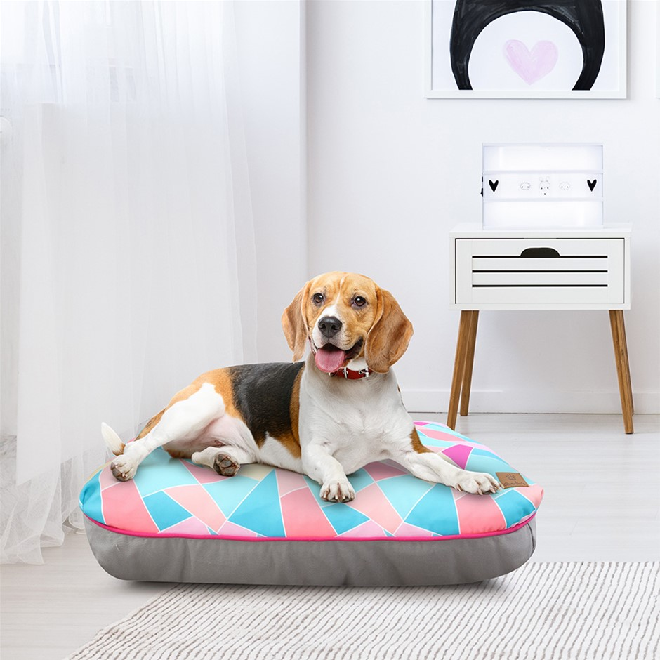 Charlie's Rectangular Funk Pet Bed Pad- Multi Triangle Medium