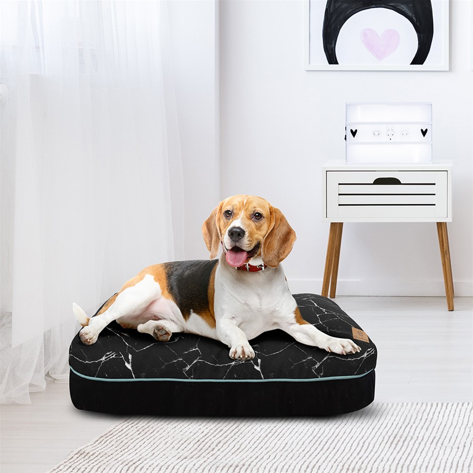 Charlie's Rectangular Funk Pet Bed Pad- Black Marble Medium