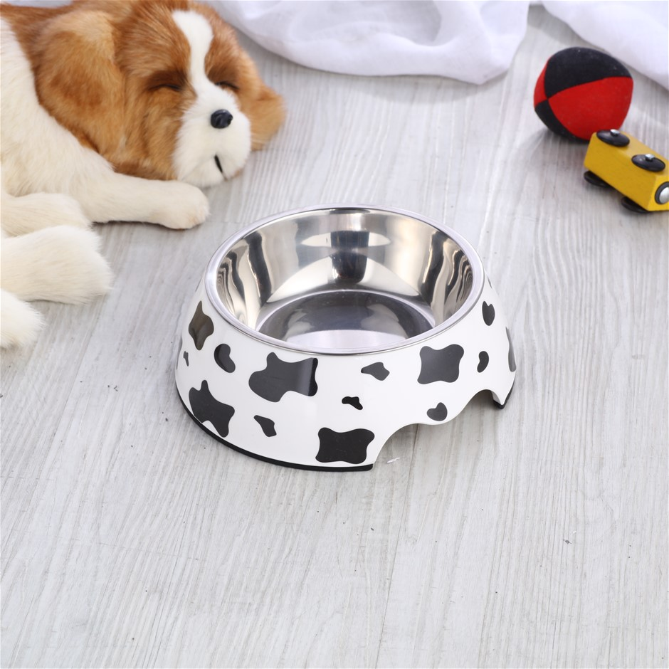 Charlie's Melamine Printed Pet Feeders with Stainless Bowl -Cow Medium