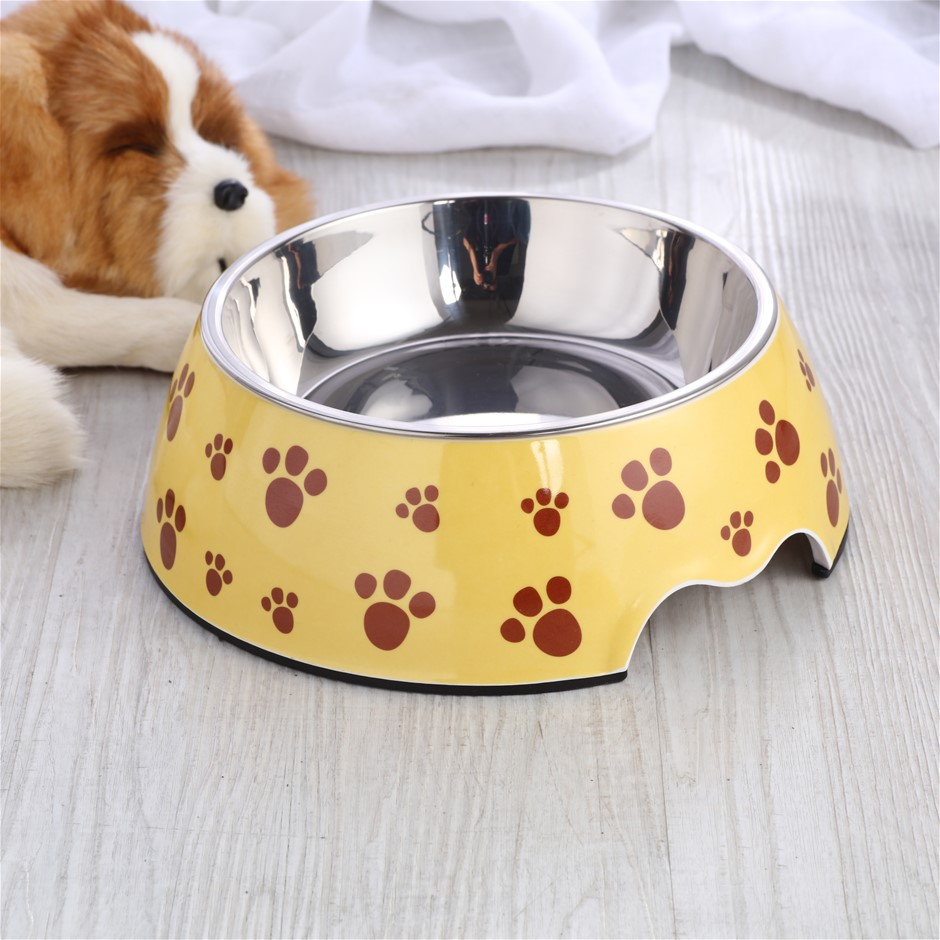 Charlie's Melamine Printed Pet Feeders with Stainless Bowl -Pug Large