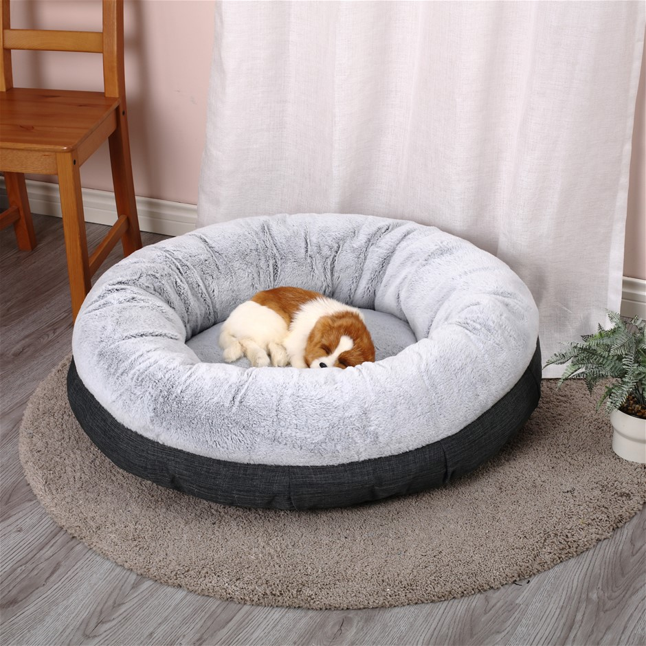 Charlie's Winter Short Plush Round Bed Non Slip Bottom SIZE L 91.5*91.5*27