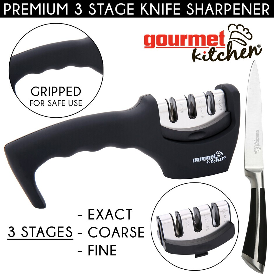 Gourmet Kitchen 3 Slot Knife Sharpener - Black