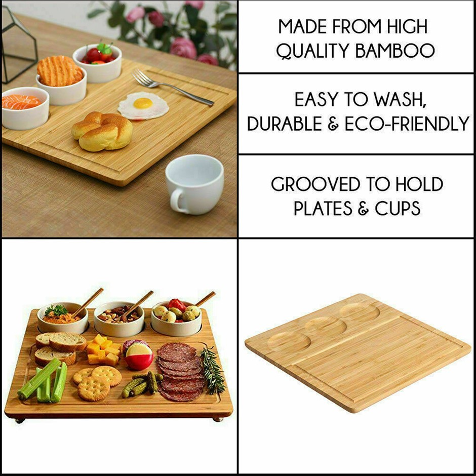Sherwood Bamboo Serving Platter with 3 ceramic dishes - Natural Brown