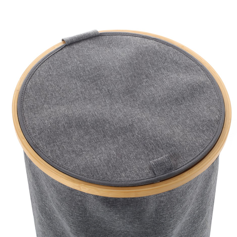 Sherwood Linen & Bamboo Round Short Laundry Bag with Cover 38*38*43cm